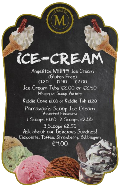 Ice-cream menu