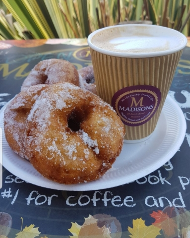 Coffee and doughnuts at Madisons